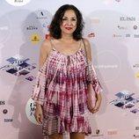 Isabel Gemio con un vestido corto en tonos rosados en el concierto de Gregory Porter 2018
