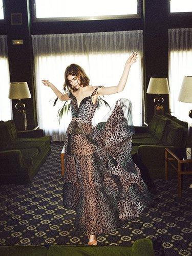 Modelo con un vestido 'animal print' de la nueva colección otoño/invierno 2018/2019 de Dolores Promesas