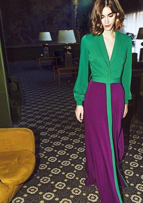 Vestido bicolor de la nueva colección de otoño/invierno 2018/2019 de Dolores Promesas
