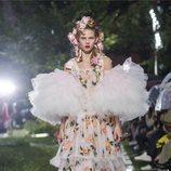 Vestido de flores con volumen de Rodarte primavera/verano 2019 en la New York Fashion Week
