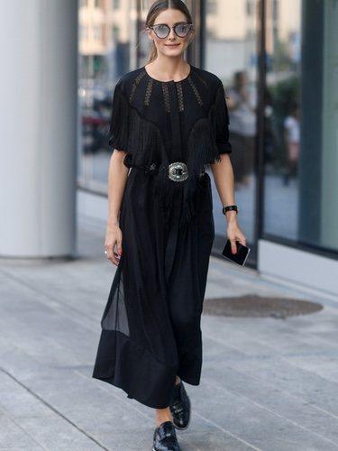 Olivia Palermo con un total black en la Milan Fashion Week