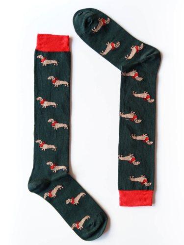 Calcetines con estampado de perros en verde y rojo de Naïve