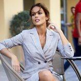 Lara Álvarez con vestido de cuadros de su firma Blue Palm