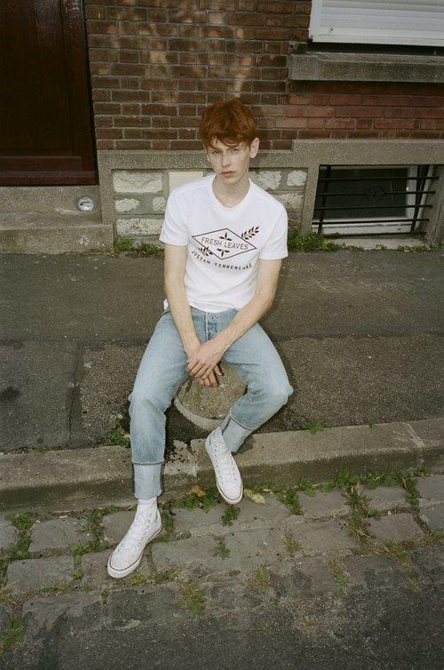 Camiseta blanca con estampados de la colección Fresh Leaves de Levi's x Justin Timberlake
