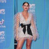 Sofía Reyes con un vestido de Ermanno Scervino en la alfombra roja de los EMAs 2018