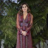La Reina Letizia posa con un vestido boho en Perú