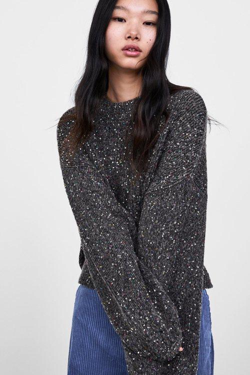 Jersey con lentejuelas de la colección otoño/invierno 2018/2019 de Zara