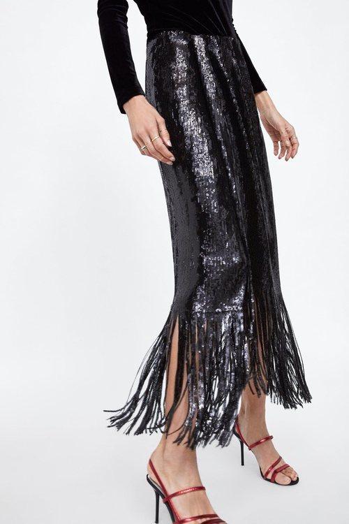 Falda de flecos de la colección otoño/invierno 2018/2019 de Zara