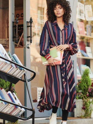 Vestido de rayas de la colección invierno 2019 de H&M