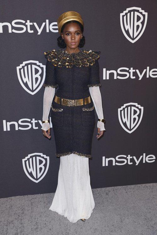 Janelle Monae vestida de emperatriz en la fiesta InStyle posterior a los Globos de Oro 2019