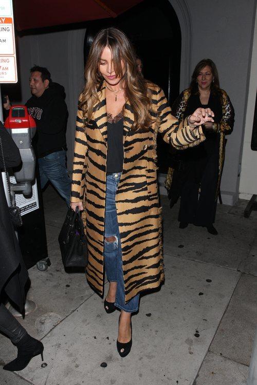 Sofía Vergara con un abrigo animal print de paseo por Hollywood