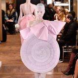 Vestido malva con falda circular de tull de la colección Alta Costura Primavera 2019 de Balmain
