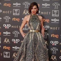 Nieves Álvarez con un vestido estampado en los Premios Goya 2019
