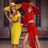 Vestidos cortos amarillo y rojo de la colección primavera/verano 2019 de 'Atelier Versace'.