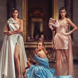 Vestidos azul y rosa de la colección primavera/verano 2019 de 'Atelier Versace'