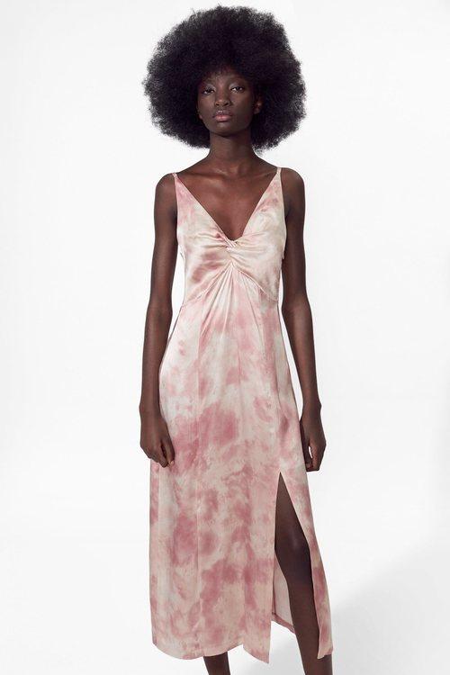 Vestido largo rosa Zara primavera-verano 2019