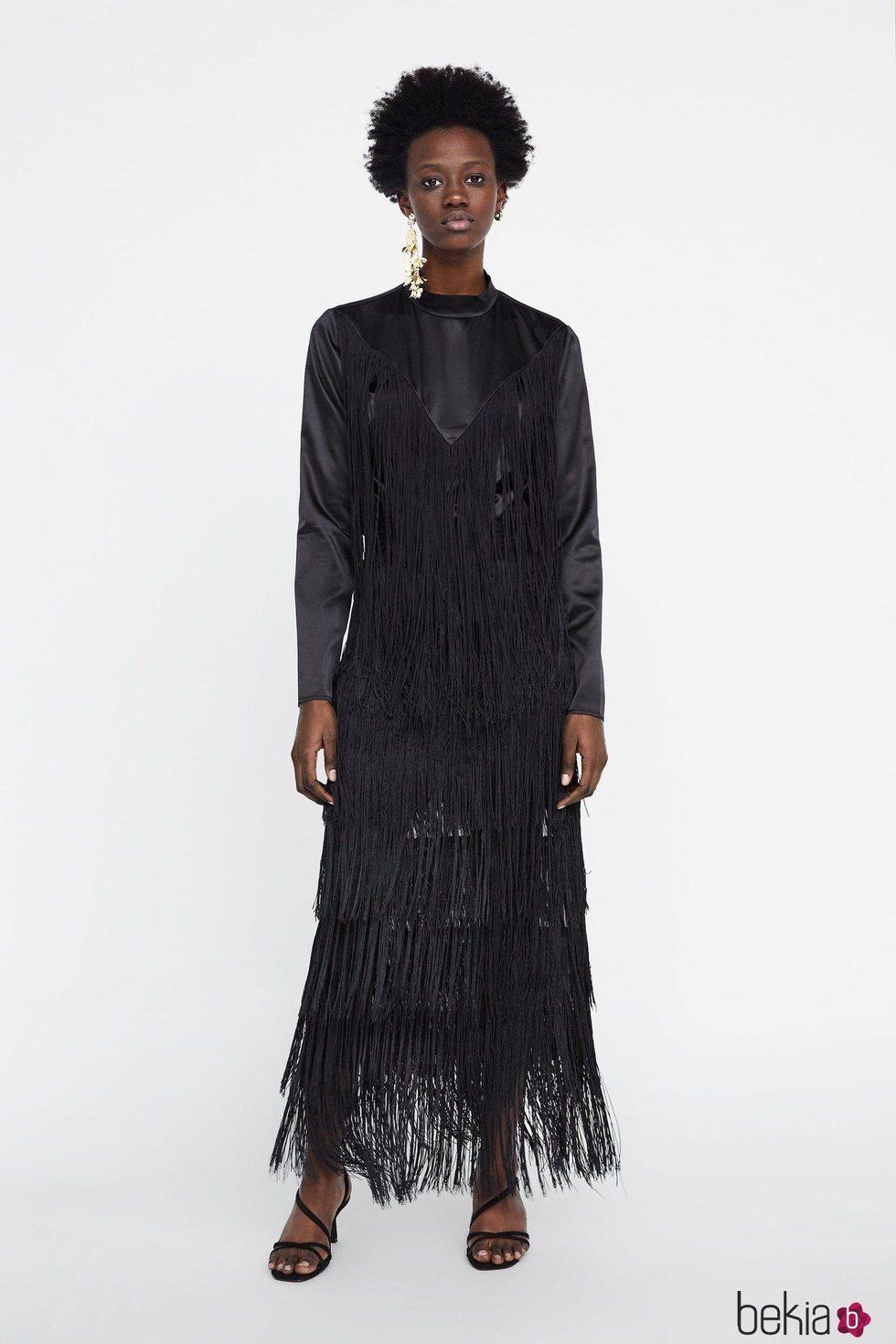 Vestido negro largo zara 2019