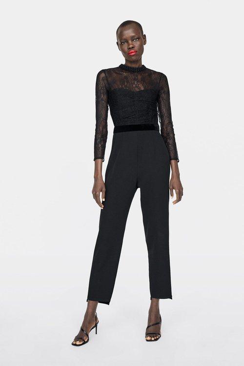 Mono negro con encaje Zara primavera-verano 2019