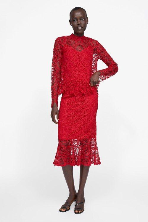 Vestido rojo encaje Zara primavera-verano 2019