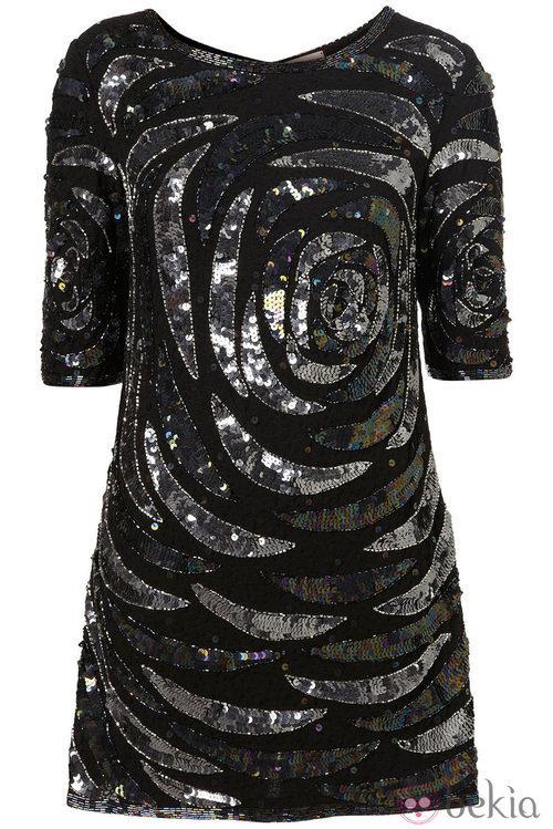 Vestido glitter en negro y plata de topshop