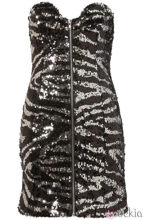 Vestido glitter con dibujo de cebra de topshop
