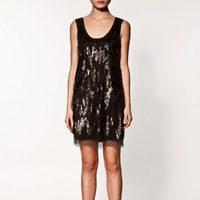 Vestido glitter negro de Zara