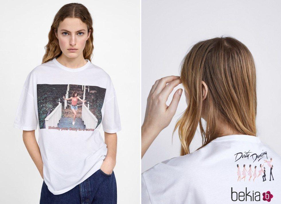 Camiseta blanca con estampado de Baby de Dirty Dancing de Zara