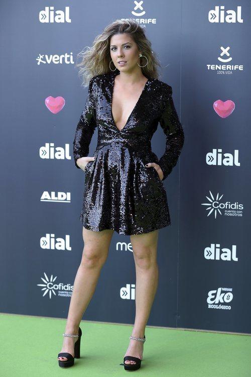 Miriam Rodríguez con un vestido negro de lentejuelas