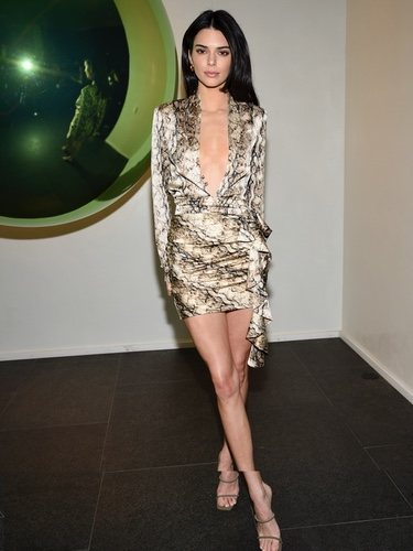 Kendall Jenner con un vestido de animal print