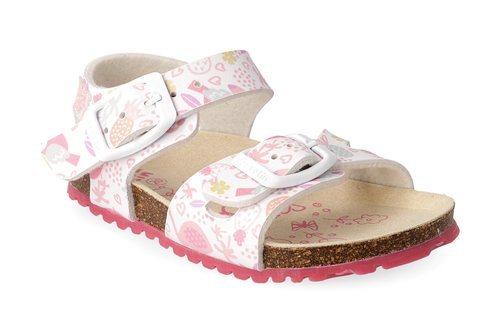 Sandalias blancas con piñas y flores rosas de Garvalín
