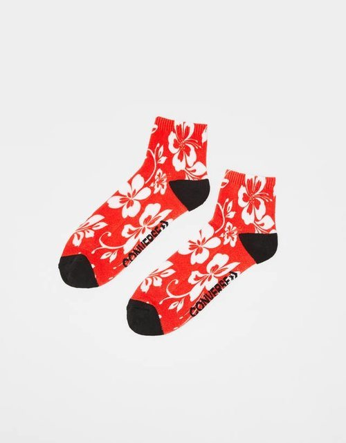 Calzetines estampado floral hawaiano rojo Bershka