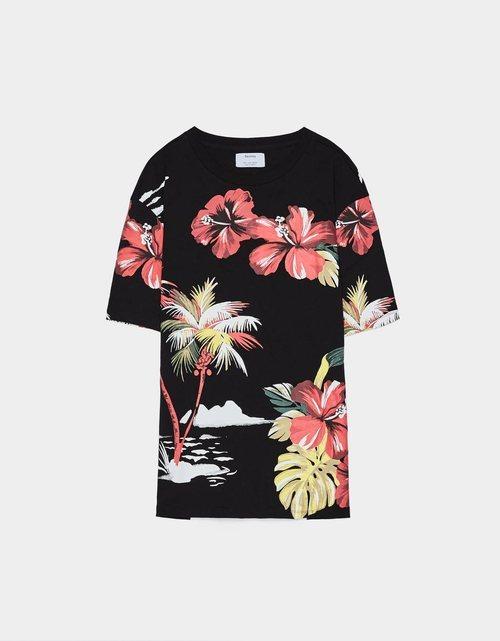 Camiseta estampado floral hawaiano Bershka