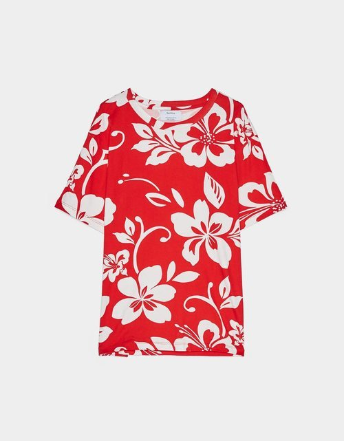 Camiseta estampado floral hawaiano rojo Bershka