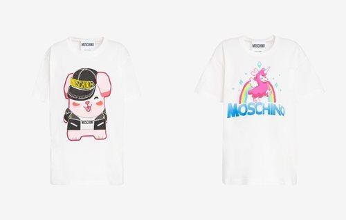 Camisetas conejo y llama colección Moschino x The Sims