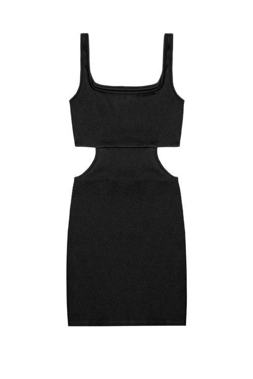 Minivestido negro con detalle cut out de la colección Pull&Bear by Rosalía