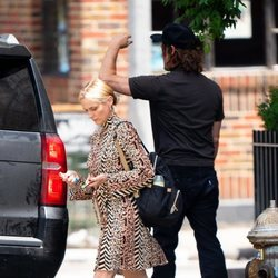 Diane Kruger con vestido animal print por las calles de Nueva York