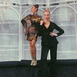 Karlie Kloss con un dos piezas negro de terciopelo e incrustaciones de cristales en 'Project Runway'
