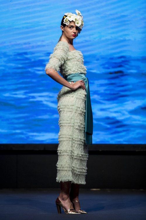Vestido verde pastel de tul y volantes de la colección crucero de Juan Duyos para 'Alta Mar'