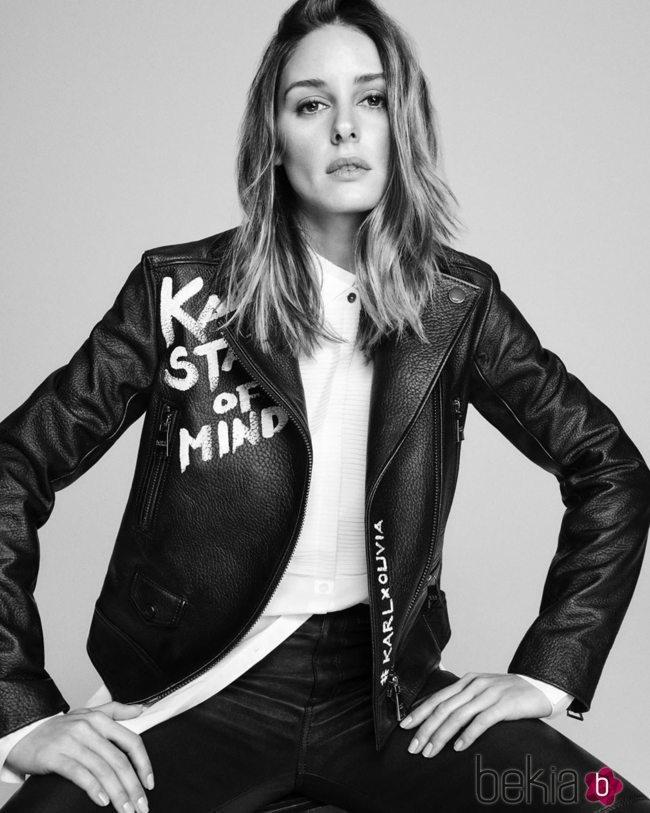Cazadora de cuero de la colección 'Karl Lagerfeld Styled by Olivia Palermo'