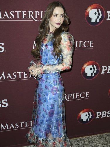 Lily Collins con vestido de Jill Stuart en la presentación de 'Les Miserables' de Los Ángeles