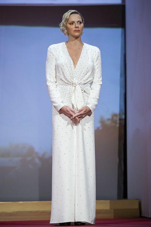 Charlene de Mónaco con un vestido estilo nupcial en la 59 edición del Festival de Televisión de Monte-Carlo