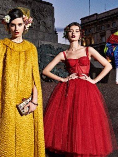 Vestido rojo de tul de la colección otoño/invierno 2019 de Dolce&Gabbana