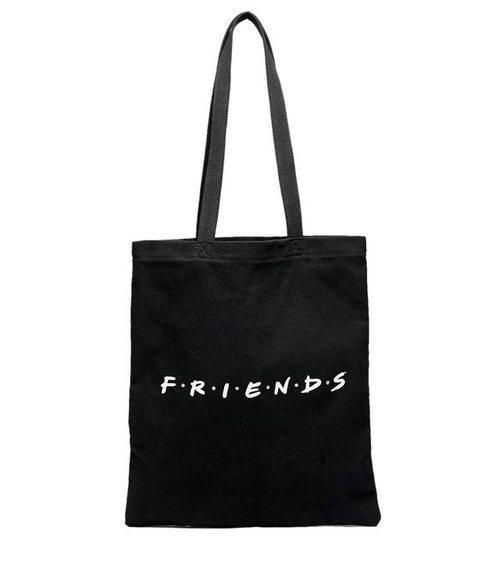 Bolsa de tela negra de la colección cápsula de Stradivarius x 'Friends'