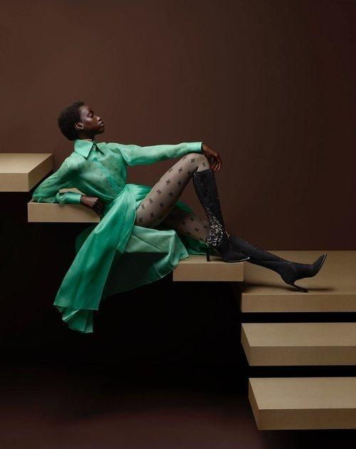 Vestido verde de la colección otoño/invierno 2019/2020 de Fendi