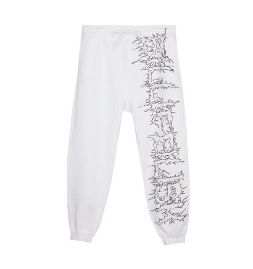 Pantalón blanco de chándal serigrafiado de la colección Billie Eilish x Bershka