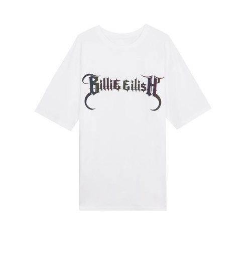 Camiseta blanca serigrafiada de la colección Billie Eilish x Bershka