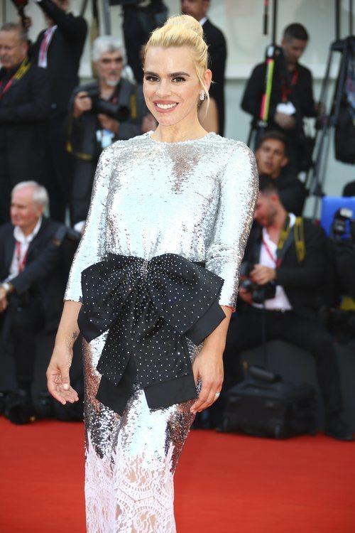 Billie Piper con vestido de lentejuelas y encaje en la premiere de 'Marriage Story' en el Festival de Venecia 2019