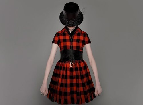 Vestido de cuadros de la colección prêt-à-porter otoño/invierno 2019 de Dior