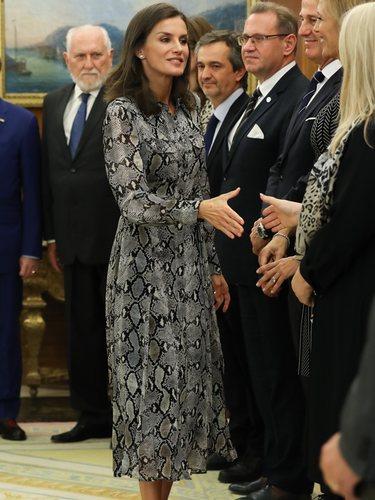 La Reina Letizia con un vestido animal print de Massimo Dutti en las Juntas Directivas de las Academias Europea y Española de Dermatología y Venerología