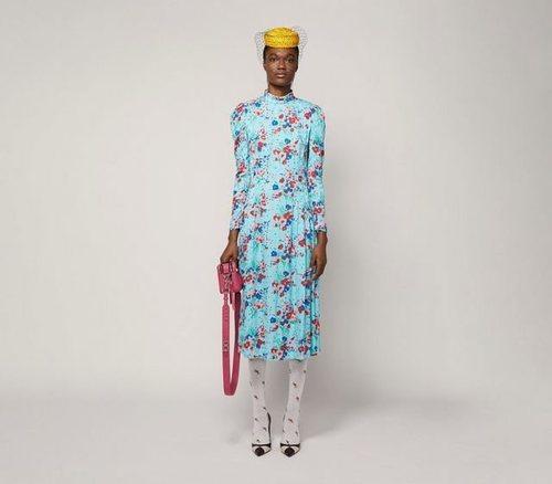 Vestido años 40 azul de Marc Jacobs para la colección otoño 2019